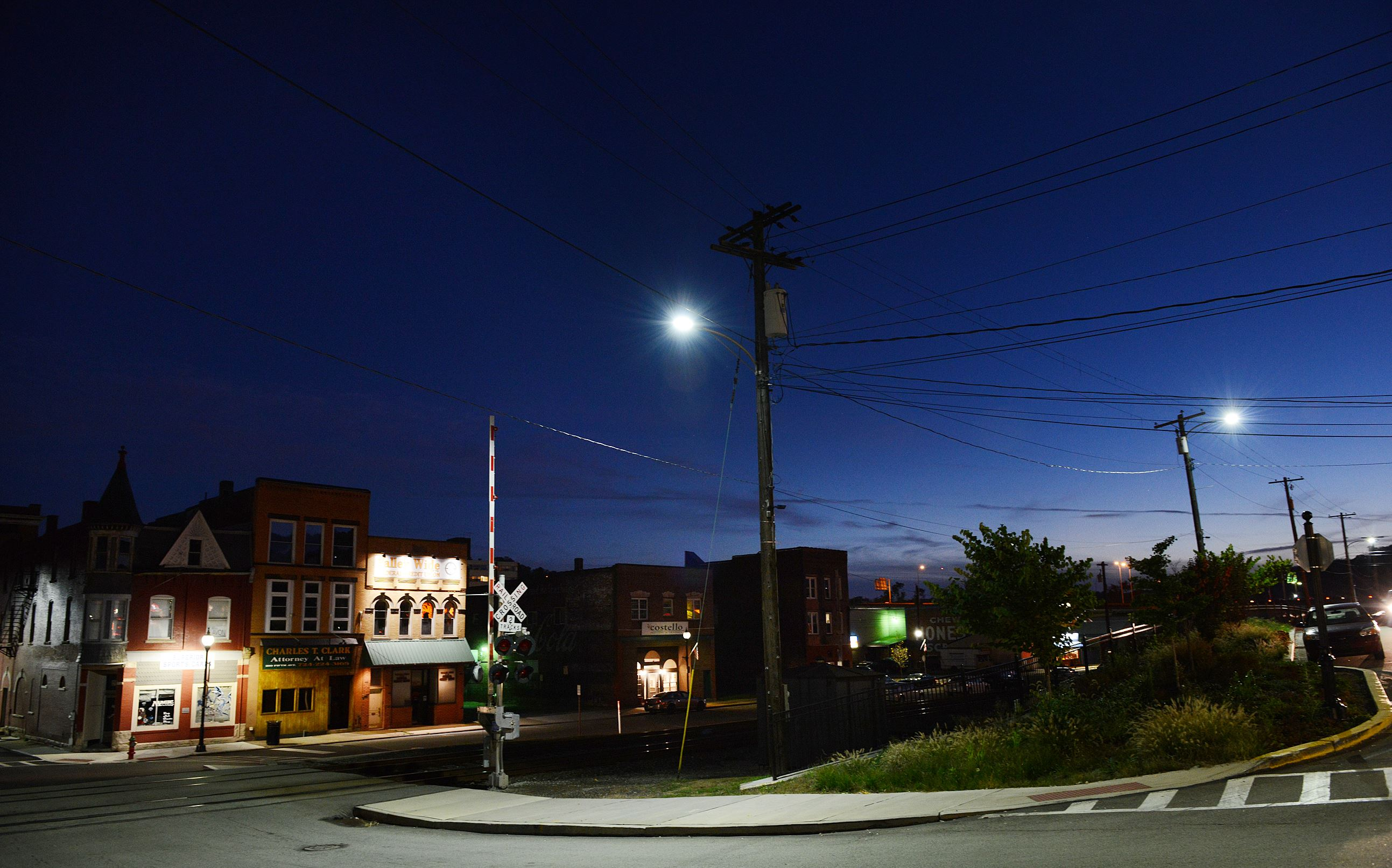 20151025JRLEDlights2-146 Tarentum is one of the Pennsylvania municipalities that has its own power company and would be affected by a bill proposing to restrict spending surpluses on police departments and road work.