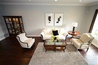 The living room area of the townhouse in Summerset at Frick in Squirrel Hill. It was decorated and styled by interior designer Tonia Todd of Ethan Allen.