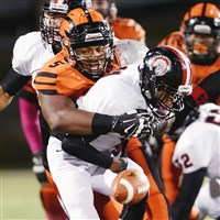 Beaver Falls' Donovan Jeter hasn't wrapped up his college decision yet the way he wrapped up Aliquippa's Sheldon Jeter last season, causing a fumble.