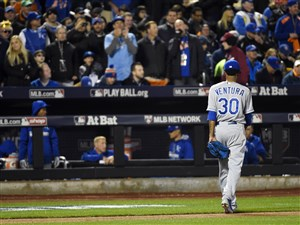 Kansas City Royals starting pitcher Yordano Ventura walks back to the dugout in the fourth inning against the New York Mets in Game 3 of the 2015 World Series at Citi Field.