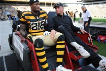 Le'Veon Bell is carted off the field after being injured in November at Heinz Field.