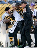 The Steelers' Le'Veon Bell is helped off the field after getting injured against the Bengals in the second quarter Sunday at Heinz Field.