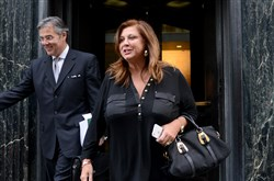 "Abby Lee Miller of Lifeetime's ""Dance Moms,"" leaves federal court in Downtown Pittsburgh Monday after pleading not guilty to federal fraud charges."