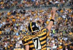 Ben Roethlisberger waves to fans at Heinz Field on Nov. 1.