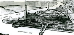 A rendering of Frank Lloyd Wright's 1947 proposal for Point State Park, never built.