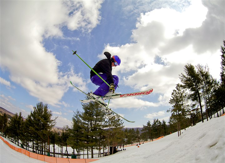 Wisp1115-1 X marks the mid-air spot for this high-flying freestyle skier at Wisp Resort.