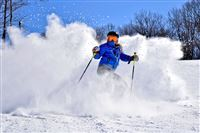 Hidden Valley Cobra: skiier in powder for annual ski guide 11/15/2015 by Larry Walsh