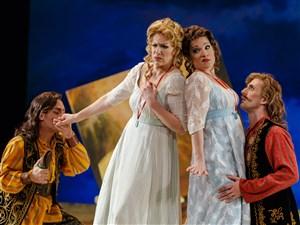 "Christopher Tiesi, left, as Ferrando, Jennifer Holloway as Dorabella Danielle Pastin as Fiordiligi and Hadleigh Adams as Guglielmo in Pittsburgh Opera's 2015 production of ""Cosi fan tutte."""