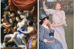 "A Tale of Two Paintings: Impressionist painter Mary Cassatt urged her family to buy ""The Toilet of Venus,"" left, by Simon Vouet, a 17th-century French artist. That painting influenced her treatment of the female form in ""Young Women Picking Fruit,"" right. The Vouet painting wound up with a niece of Cassatt's, while the painting of the young women is in the Carnegie Museum of Art's collection."