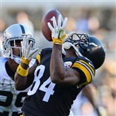 Steelers receiver Antonio Brown makes a catch after beating Raiders defensive back David Amerson along the sideline for a first down Sunday at Heinz Field.