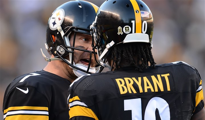 "20151108pdSteelersSports12-3 Ben Roethlisberger wants Martavis Bryant to play up to his potential. ""...He is a special player when the ball gets in his hand as well. A 3- or 4-yard pass can turn into an 80-yarder quick because he is that talented."""