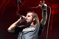 Singer Randy Blythe of Lamb of God.  The group will appear here on Friday.