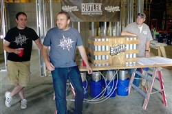The three partners behind Butler Brew Works are, from left, Nicholas Fazzoni, Travis Tuttle and Greg Clear.