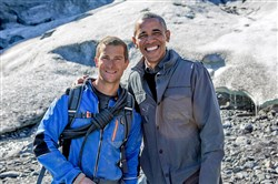 Bear Grylls with President Barack Obama.