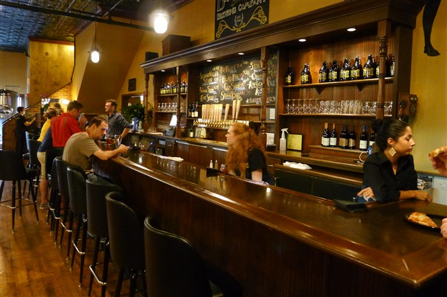 The downstairs bar  at Brewtus Brewing Co. in Sharon, PA.