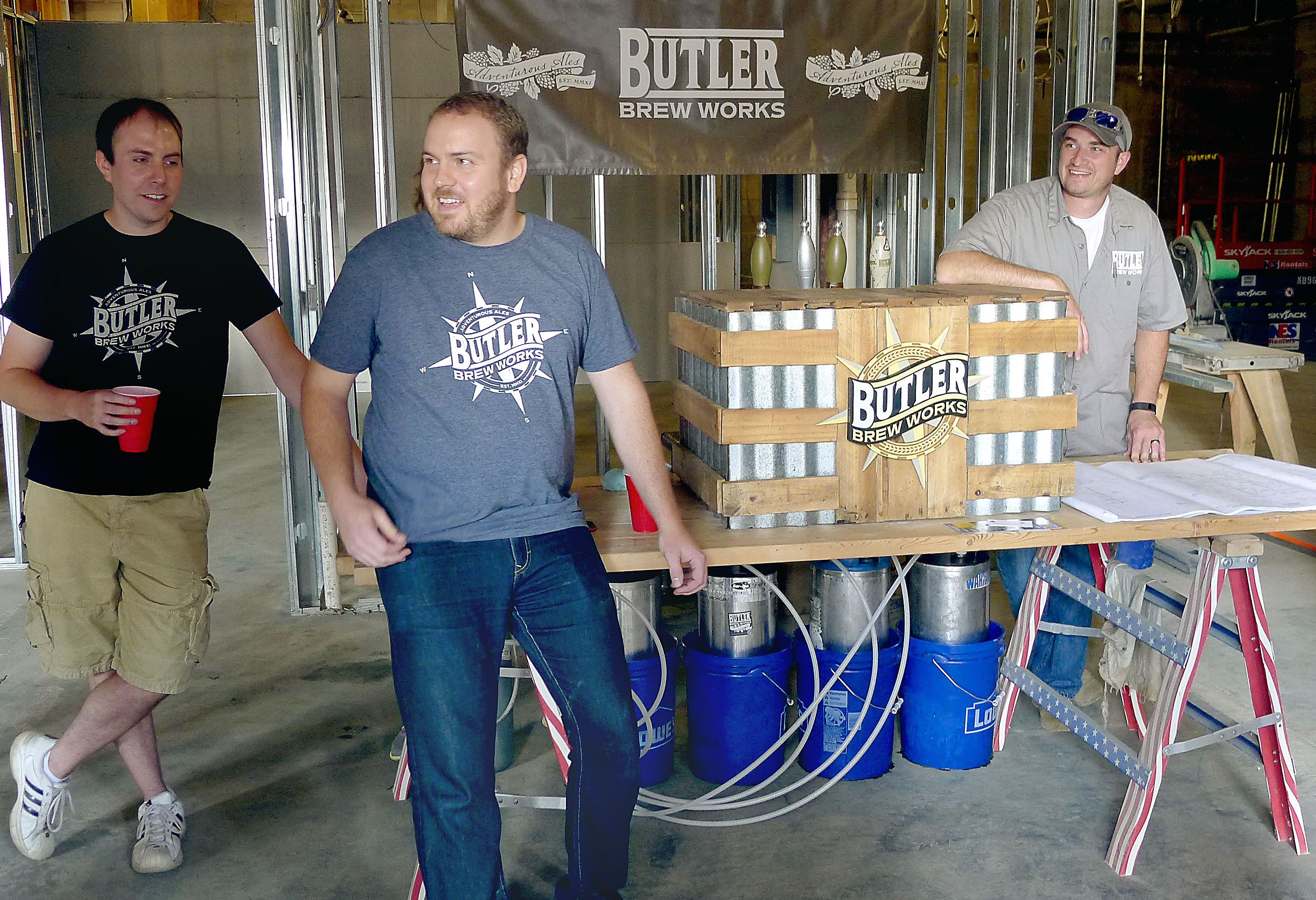 P1260094-2 The three partners behind Butler Brew Works are, from left, Nicholas Fazzoni, Travis Tuttle and Greg Clear.
