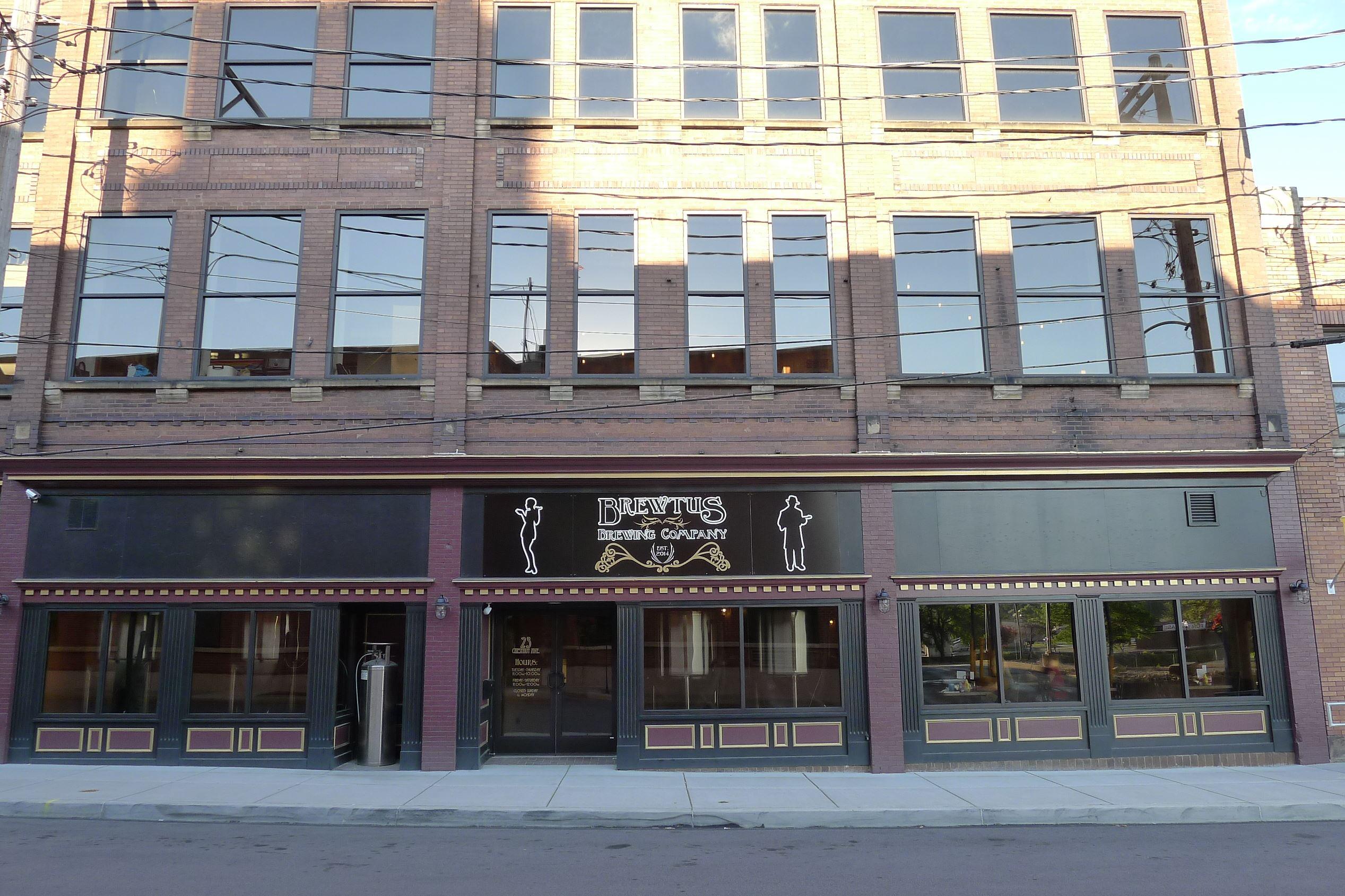 P1250995-9 The facade of Brewtus Brewing Co. in Sharon, PA.