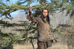 "Kalani Queypo as Squanto in National Geographic Channel's ""Saints & Strangers."""