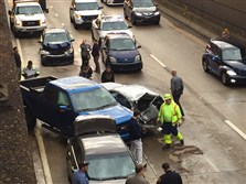 Emergency crews respond this morning to a six-vehicle crash on the Parkway East inbound at the Stanwix Street exit.