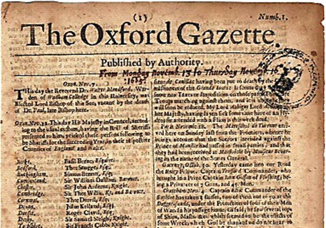 An example of the earliest edition of The Oxford Gazette.