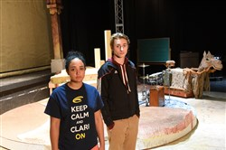 "Kiah Harrington-Wymer, left, would have played Mahari, and Logan Honsaker would have played Sushil in the play ""Jesus in India."""
