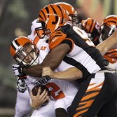 Cleveland Browns backup quarterback Johnny Manziel shown here being sacked by Cincinnati Bengals defensive tackle Geno Atkins during a game, Thursday, Nov. 5, 2015, in Cincinnati, will start Sunday against the Steelers.