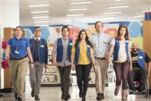 "The stars of ""Superstore"" from left: Lauren Ash, Nico Santos, Ben Feldman, America Ferrera, Mark McKinney, Nichole Bloom and Colton Dunn."