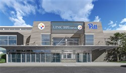 An artist's rendering shows the front of the renovated UPMC Rooney Sports Complex.