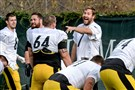 Steelers quarterback Ben Roethlisberger and his teammates during practice earlier this month. TV coverage of the team is almost always a ratings booster.