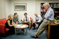 "Among cast members of ""Spotlight"" are, from left, Rachel McAdams, Mark Ruffalo, Brian d'Arcy James, Michael Keaton and John Slattery."