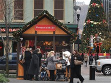 The People's Natural Gas Holiday Market in Market Square features wooden chalets that sell one-of-a-kind gifts from around the world, including many made in Pittsburgh. The market runs through Dec. 23.