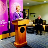 Carlow University President Suzanne Mellon and Diocese of Pittsburgh Bishop David Zubik at today's announcement.