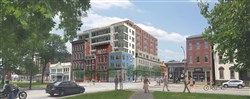 Artist's rendering of the Trek proposal to incorporate the historical buildings into new housing at Federal and North.