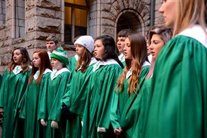 Members of South Fayette High School choir perform in the Light Up Night celebration at the Allegheny County Courthouse, Downtown.