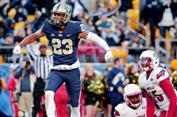 Pitt's Tyler Boyd celebrates after scoring a touchdown against Louisville in the second quarter Saturday at Heinz Field.