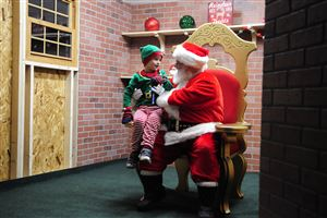 Connor Luff, 5, of McKees Rocks was the first in line to see Santa at the CBS Pittsburgh and Duquesne Light 17th annual Santa Spectacular at Point State Park on Light Up Night.