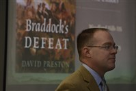 "David Preston, professor at The Citadel, a military college in South Carolina, and author of ""Braddock's Defeat,"" talks to Woodland Hills High students."