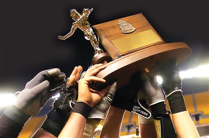 The WPIAL football championship trophy.