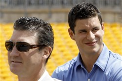 Mario Lemieux, left, and Sidney Crosby attend an NHL Winter Classic press conference at Heinz FIeld in July 2010.