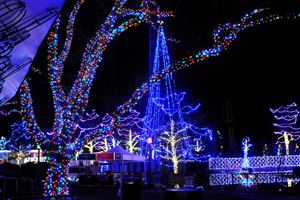 "Kennywood Park workers test the light display in advance of ""Holiday Lights"" at the park, which opens this Friday night. In its fifth seasonal display, Kennywood is using 1.5 million lights."