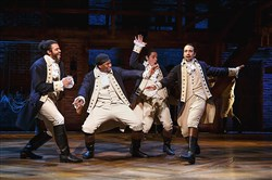 "A scene from a performance of  ""Hamilton"" in the Richard Rodgers Theatre."