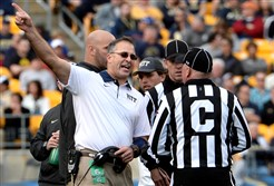Pitt coach Pat Narduzzi argues for a call against Miami in the third quarter Friday at Heinz Field.
