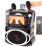 Karaoke USA's all-in-one system (model GF829) includes a 7-inch color screen and record function.