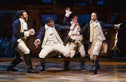 "Daveed Diggs, Okieriete Onaodowan, Anthony Ramos and Lin-Manuel Miranda in the Tony Award-nominated ""Hamilton,"" which earned a record 16 nominations Tuesday."