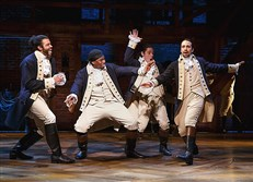 "The founding fathers of ""Hamilton"" (Lin-Manuel Miranda at right)."