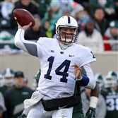 Penn State quarterback Christian Hackenberg throws a pass during a game against Michigan State on Nov. 28, 2015. Hackenberg was drafted by the New York Jets in the second round Friday.