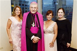 Roseanne Wholey with Bishop David Zubik, Linda Liotus and Julie Unitas Giba