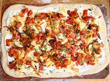 Bacon and Caramelized Onion Flatbread (Flammkuchen)