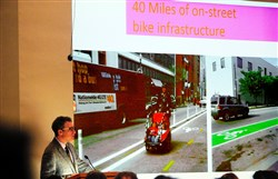 City planning director Ray Gastil discusses the exisiting bike infastructure Tuesday at a public meeting addressing Complete Streets for Pittsburgh at Pitt's Alumni Hall.