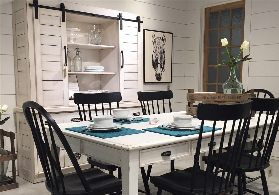 Hgtv S Joanna Gaines Designed Farmhouse Kitchen Table Chairs And China Cabinet From Her New Magnolia
